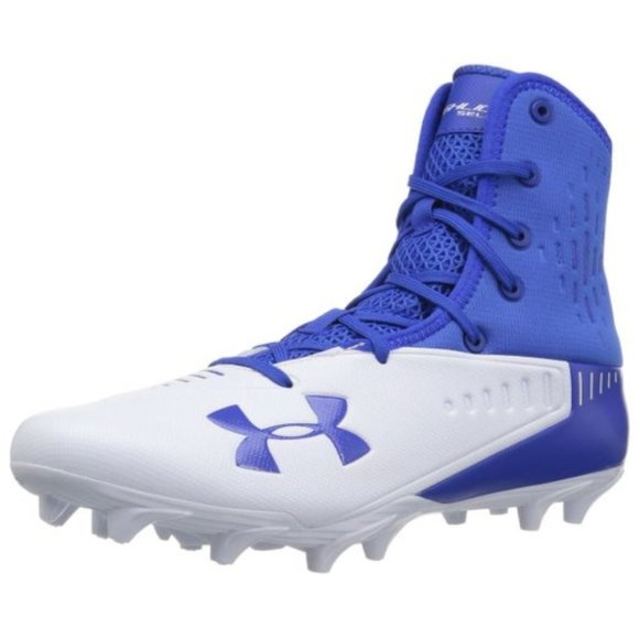 blue and white under armour cleats